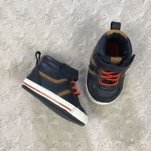 High Top Baby Boy Shoes Size 0-3 Months Blue Tan